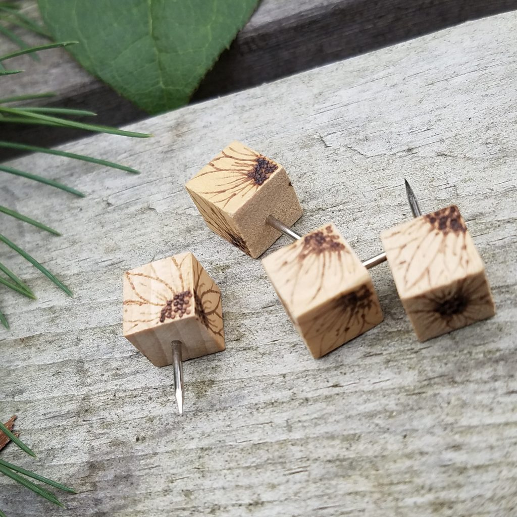wood pushpins with sunflower pyrography