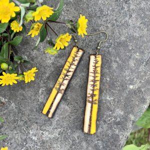 wood burned tall tree earrings painted yellow